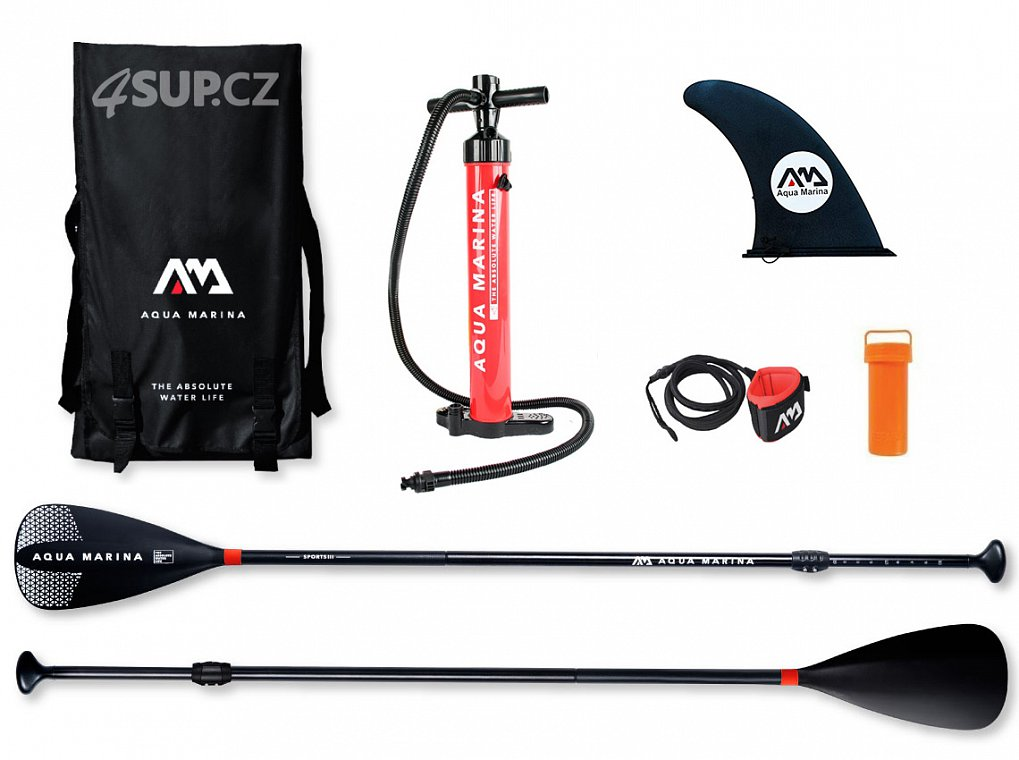 AQUA MARINA nafukovací paddleboardy allround balení - magic backpack, leash, pumpa, fina, pádlo SPORT III